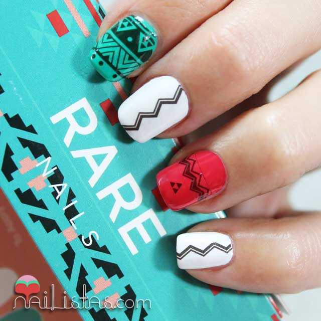 uñas decoradas estilo azteca con el kit de nail art de rare nails