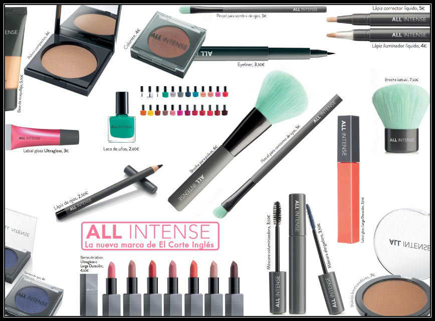Productos de la marca de maquillaje all intense core beauty