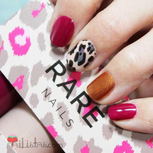 Uñas decoradas con Leopardo y Borgoña