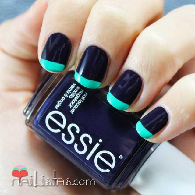 Uñas con manicura francesa de colores en azul y verde