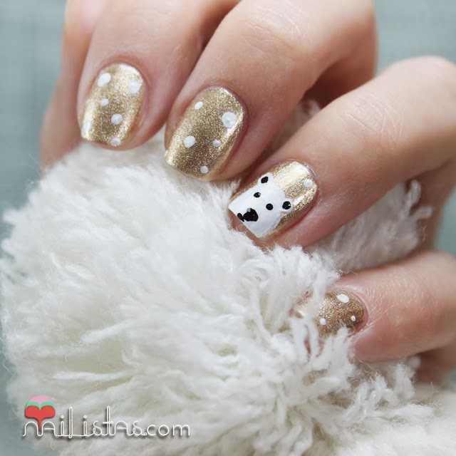 Uñas decoradas de Navidad con oso Polar