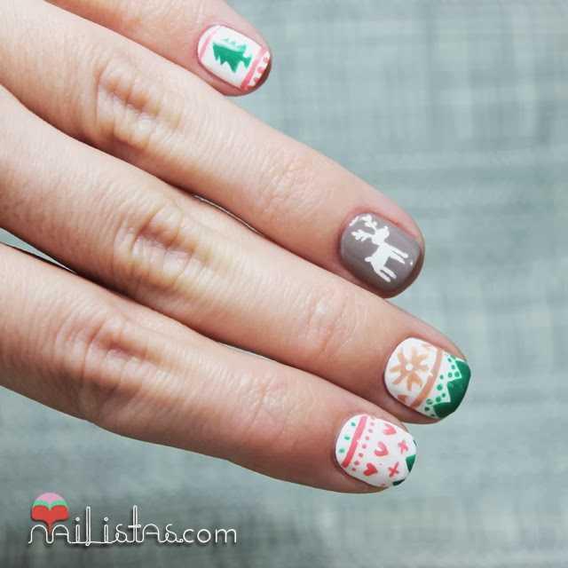 Nail Art de jersey de Invierno, uñas decoradas