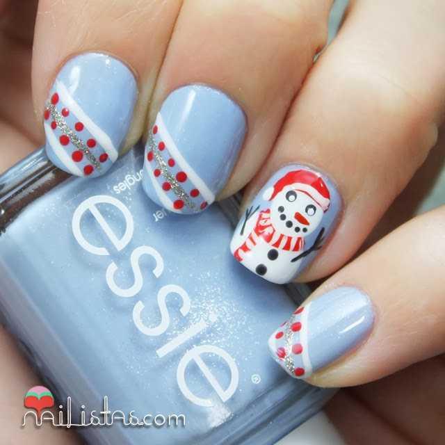 Uñas decoradas con muñeco de nieve | nail art