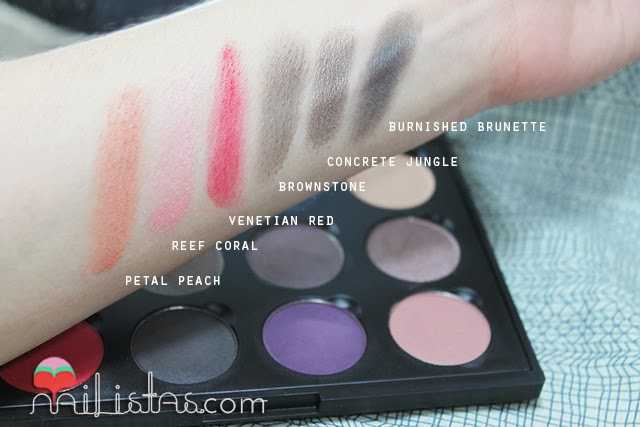 Swatches de Petal Peach, Reef Coral, Venetian Red, Bownstone, Concrete Jungle, Burnished Brunette
