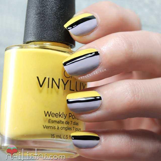 Uñas decoradas en amarillo gris y negro con esmaltes vinylux