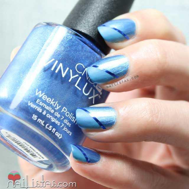 Esmaltes Vinylux | Nail art con cinta en azul