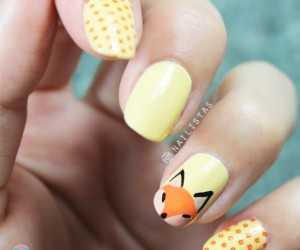 Nail art cuqui con animal zorro
