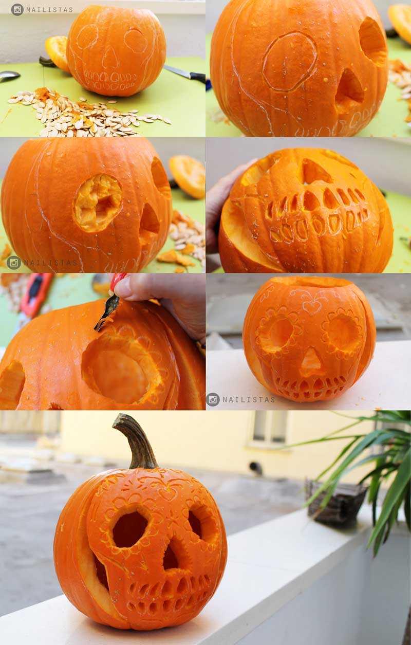 Decoración de una calabaza de Halloween paso a paso