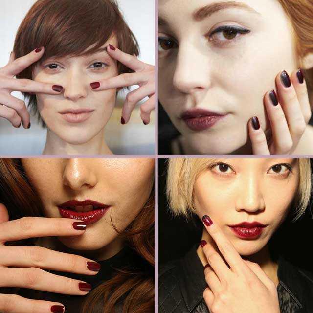 tendencias uñas nail art otoño - invierno 2014 2015 rojo borgoña y granate