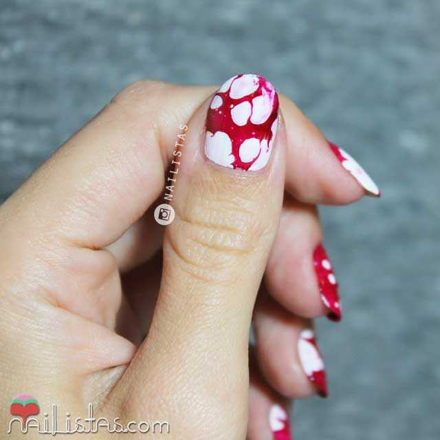 water spotted nails Halloween nail art