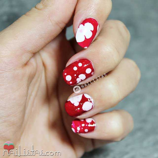 water spotted nail art, uñas decoradas de Halloween