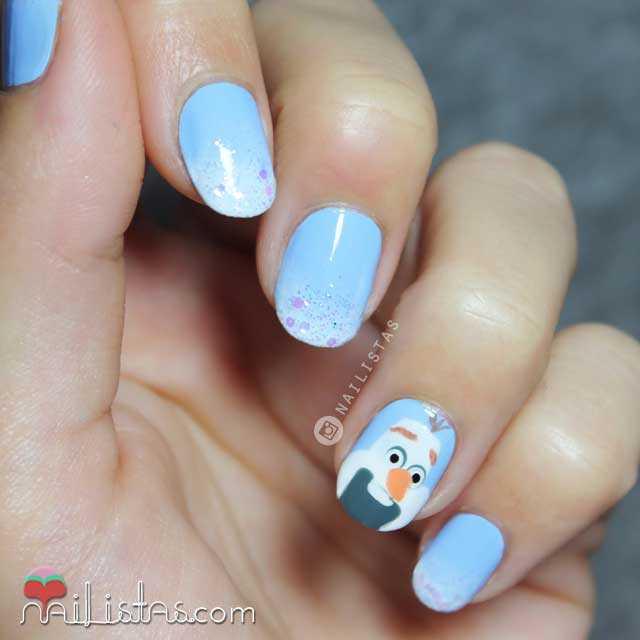Manicura Disney uñas Frozen Olaf