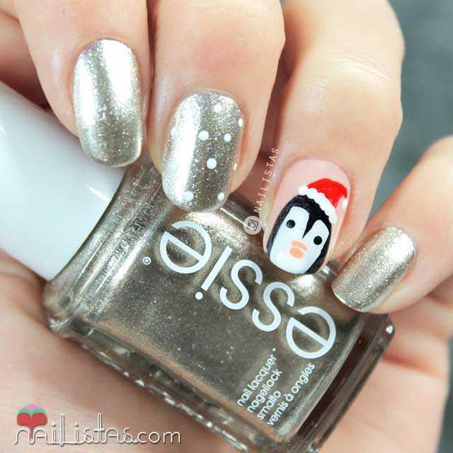 Uñas decoradas de Navidad Pingúino