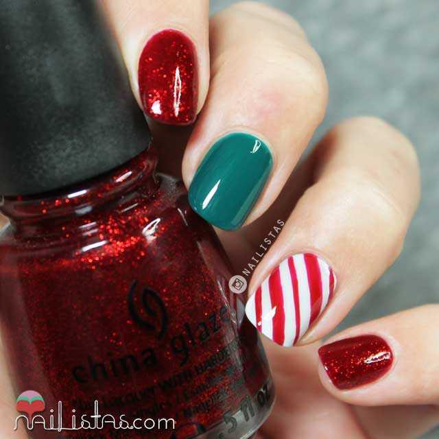 Decoracion de uñas fácil Navidad
