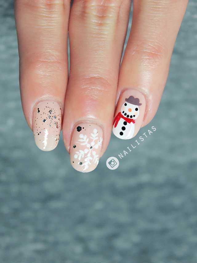 Nail art de Navidad paso a paso Muñeco de Nieve