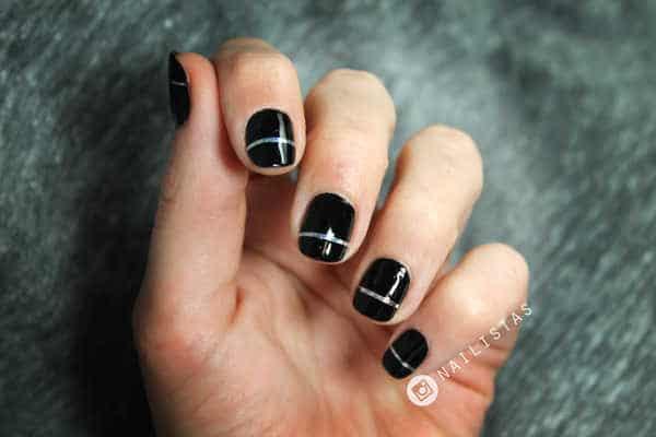 Nail art de fiesta para uñas cortas fin de añoi