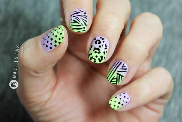 Diseño de uñas animal print acid | leopardo y cebra