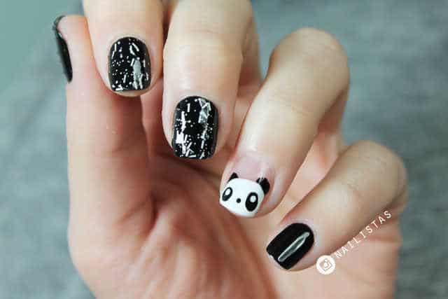 uñas decoradas con amilaes panda nail art