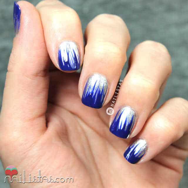 Uñas decoradas en azul klein y plata fácil y rápido