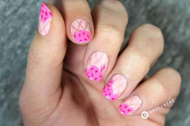 Uñas decoradas con helado paso a paso nail art