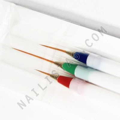 3 pinceles de pelo largo para decoración de uñas -821