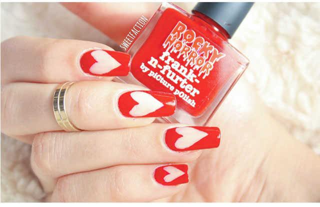 Uñas con corazones perfectas para San Valentin