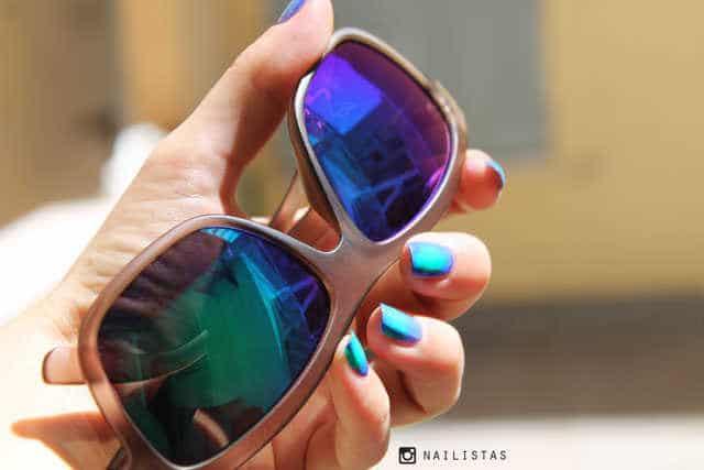 Gafas Cristal espejo efecto degradado verde violeta Tropik lentiexpress