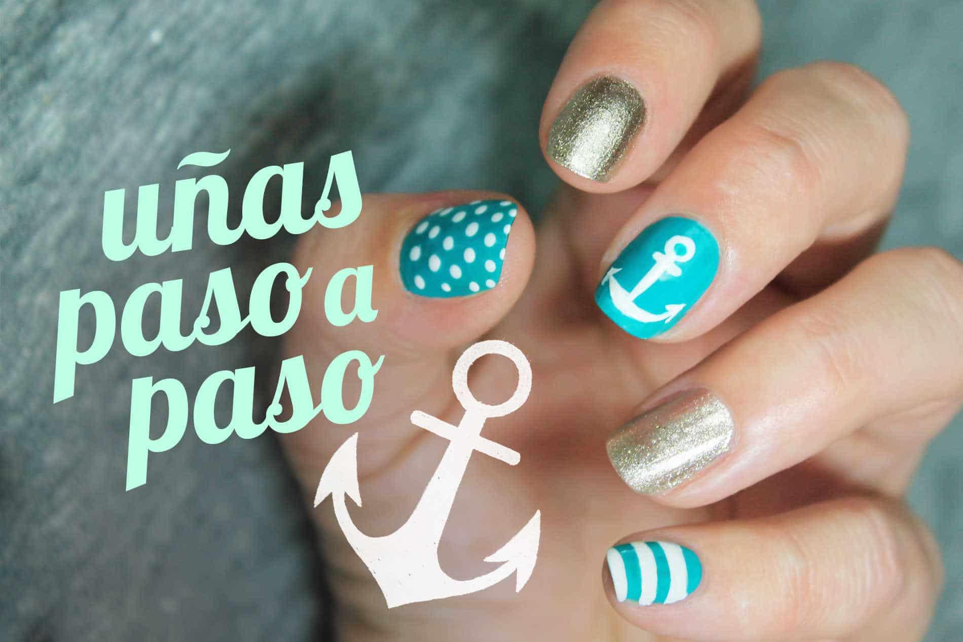 Como dibujar anclas en las uñas