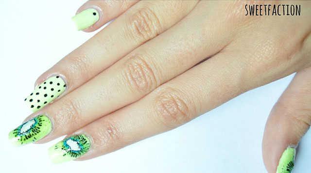 uñas decoradas con kiwi paso a paso