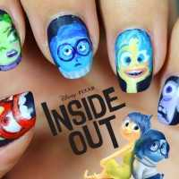 Uña decoradas paso a paso manicura Inside Out del Reves Intensa-Mente nail art