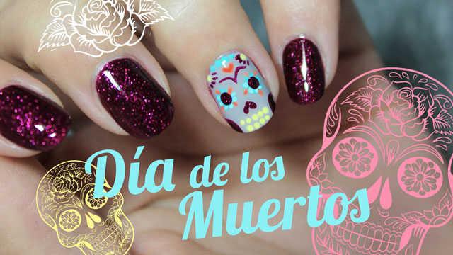 Diseño De Uñas Para El Día De Los Muertos Sugar Skull