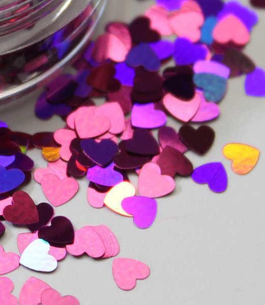 purpurina forma corazones láser holográficos