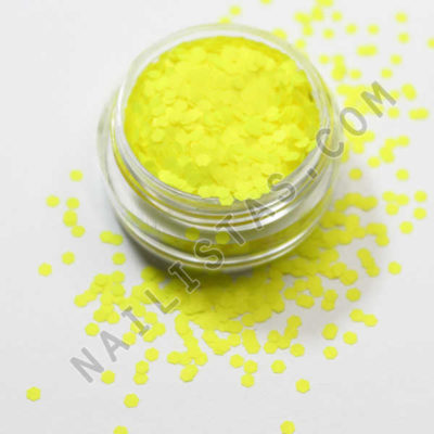 Purpurina para nail art forma hexagonal amarillo neón
