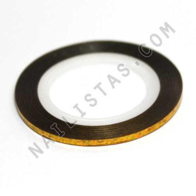 Nail art tape dorado holografico 2mm