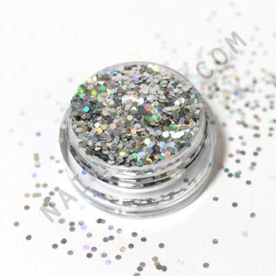 purpurina para nail art plata holográfica