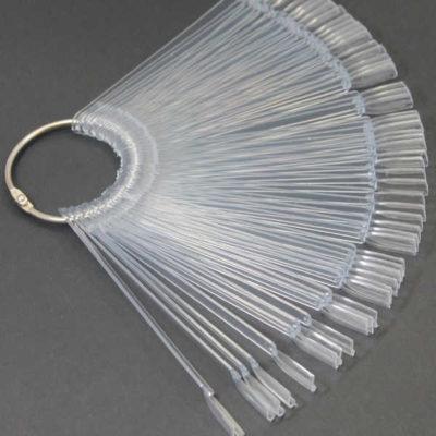 Muestrario de uñas en abanico 50 tips transparente