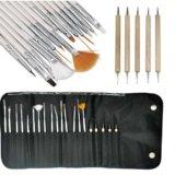 set de 21 pinceles para nail art y herramientas