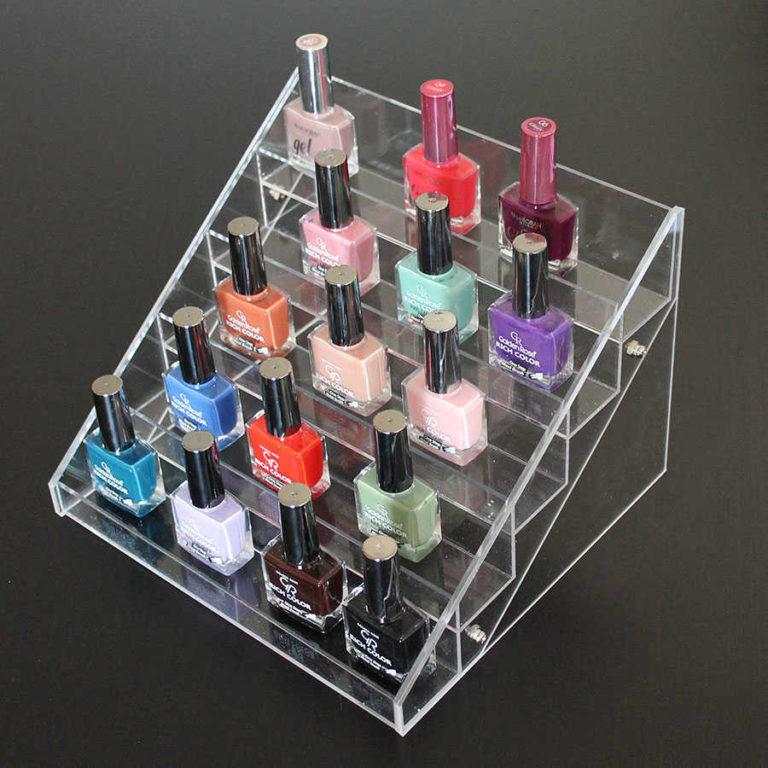almacenaje de esmaltes de uñas metacrilato escalera display