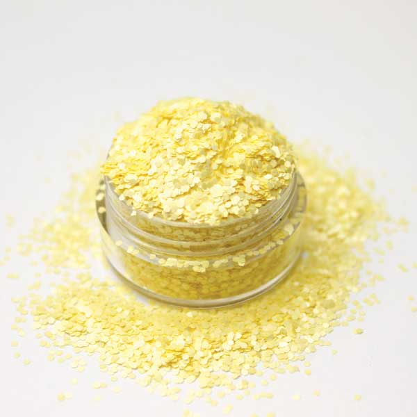 purpurina-apurpurina para uñas mate amarillo pastel