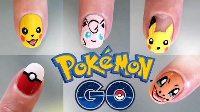 5 deiseños de uñas pokemon go paso a paso