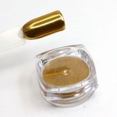polvo efecto espejo oro color dorado uñas