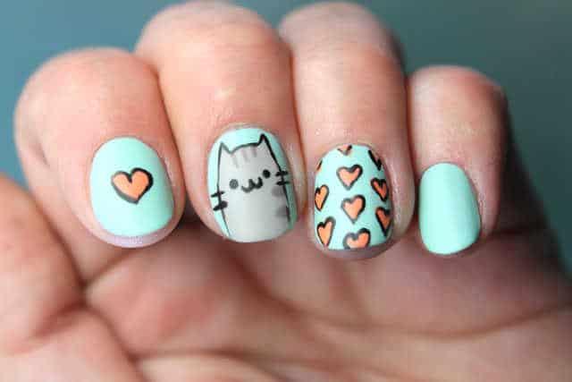 gato pusheen uñas paso a paso tutorial nail art