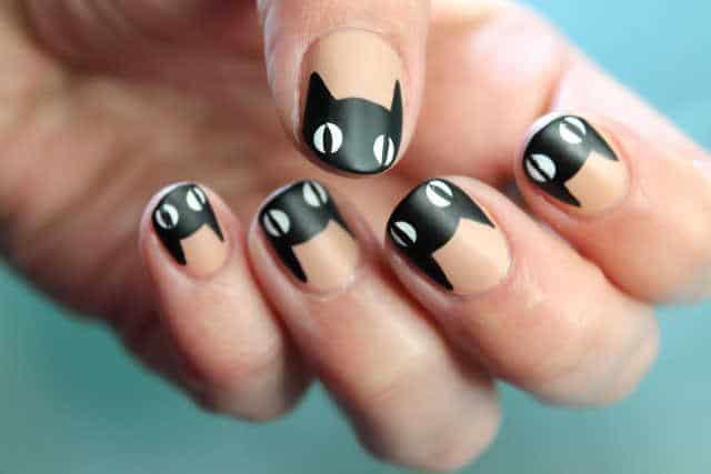 gatos negros uñas paso a paso tutorial nail art
