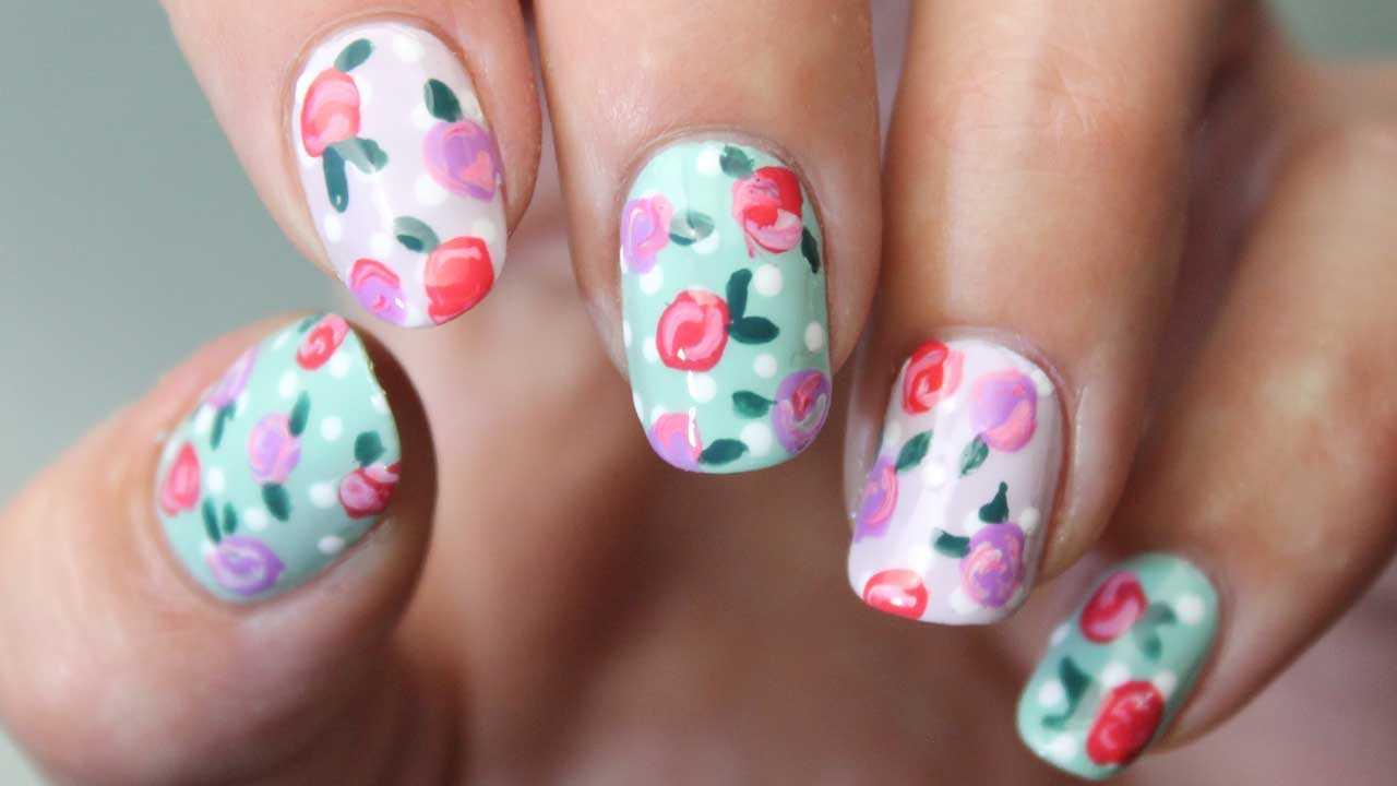 nail art de flores paso a paso