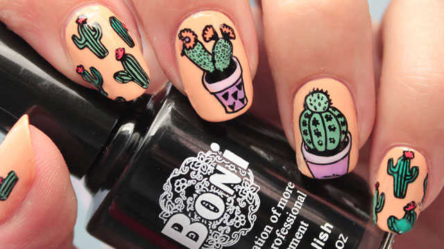 decoración de uñas cactus nail art