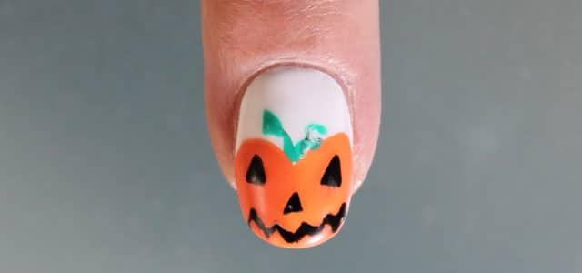 diseño de uñas paso a paso calabaza de halloween