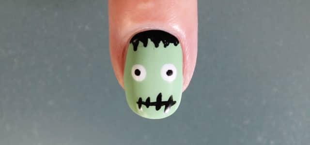 Uñas de Halloween Frankenstein