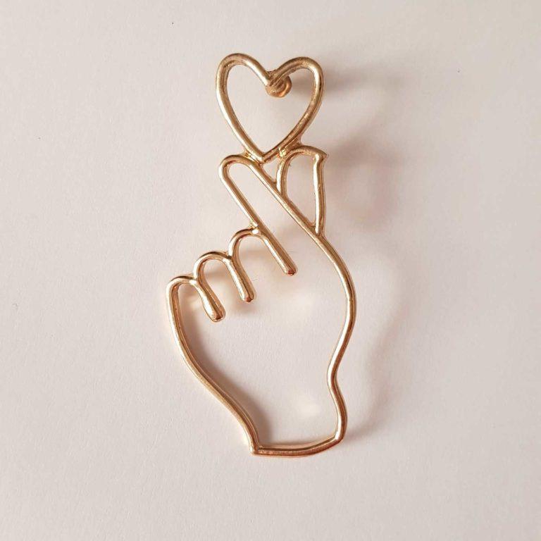 Pendientes corazón y mano