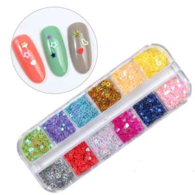 formas de purpurina para nail art en las uñas