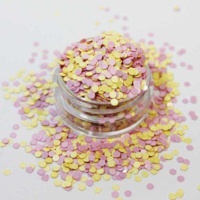 purpurina círculos amarillo y rosa mate